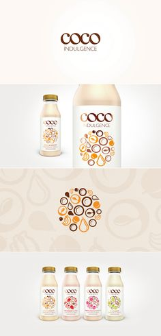 Coco Indulgence Coconut Milk & Fruit Smoothie Packaging designed by Design Happy, a strategic packag Fruit Packaging, Beverage Packaging, Brand Packaging, Packaging Design, Product Packaging, Branding Design, Coconut Drinks, Coconut Smoothie, Coconut Milk