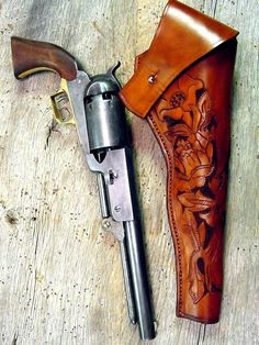 1847 Colt Walker Revolver & new holster Cowboy Holsters, Western Holsters, Western Belts, Pocket Pistol, Pistol Holster, Leather Holster, Colt Single Action Army, Pocket Knife Brands, Black Powder Guns