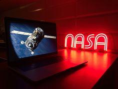 "Custom neon sign ""NASA"" Custom Neon Signs, Led Neon Signs, Plexiglass Sheets, Neon Bedroom, Neon Lighting, Nasa, Glow, Things To Come, How To Apply"