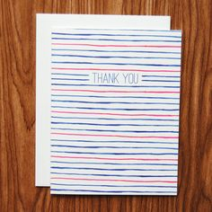 Happy Cactus Designs Hand-Painted Blue and Red Stripe Thank You Note Cards