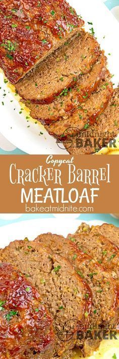 Cracker Barrel Meatloaf - The Midnight Baker - Meatloaf Recipe This meatloaf is one of Cracker Barrel's most beloved recipes.This meatloaf is one of Cracker Barrel's most beloved recipes. Ground Beef Recipes, Pork Recipes, Cooking Recipes, Meatloaf Recipes, Copycat Recipes, Homemade Meatloaf, Chicken Recipes, Amish Recipes, Salads