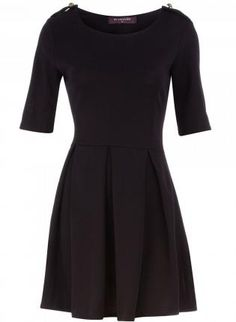 Black Belted Dress with Three Quarter Length Sleeves,  Dress, quarter length sleeve  everyday dress, Casual