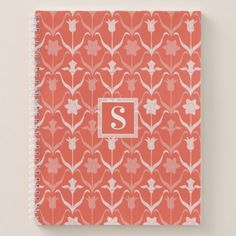 Art Nouveau Spring Bulbs  Monogram - Coral White Notebook - spring gifts beautiful diy spring time new year