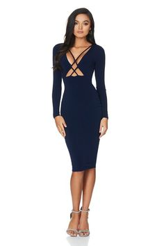 76e1f0989bc Nookie Highness Long Sleeve Midi Dress Navy find it and other fashion  trends. Online shopping for Nookie clothing.