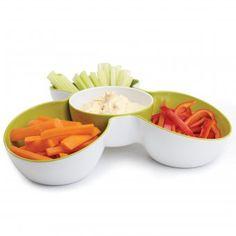#design3000 Servierschale Triple Dish - 2-teilige Snackschale.