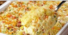 Rice, Ham And Cheese Casserole Recipe ~ Food Network Recipes - Bake at 400 degrees F. Ham And Cheese Casserole, Casserole Recipes, Macaroni And Cheese, Easy Rice Recipes, Mexican Food Recipes, Deli Food, Food Wishes, International Recipes, Cooking Recipes