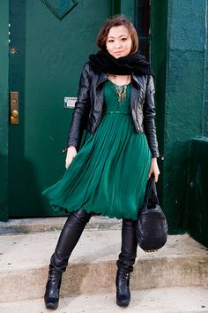 Emerald dress looks so edgy with that leather jacket. yah!