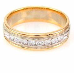 Round Brilliant Cut Diamond Milgrain Band 14K Yellow & White Gold| FJ BAI
