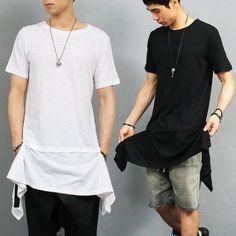 Hip Hop Long Square Draped Hem Split Side Slub T Shirt