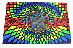 Vtg 1971 Black Light Psychedelic OPTICAL ILLUSION POSTER LSD Hippie OPPENHEIMER #Vintage