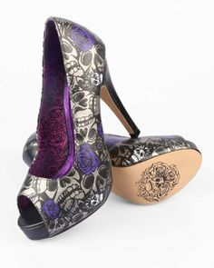 Purple Skull High Heels