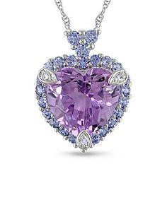 White Gold & Purple Tanzanite Heart Pendant Necklace