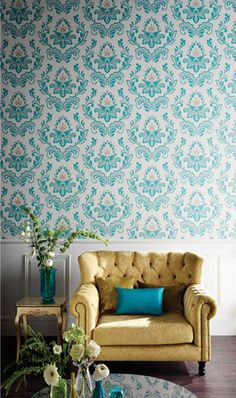 Love Wallpaper And With This Chair Pillow Just Fantastic Duck Egg Blue