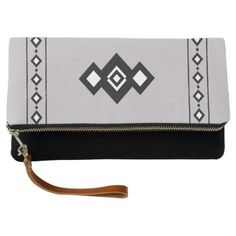 #Geometric Abstract Black & White Diamonds on Grey Clutch - customized designs custom gift ideas