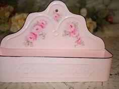 Pink Enamel Brush and Comb Dresser Holder