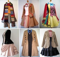 Half of the femme Doctors are now done! 4th, 5th, 6th, 8th, 10th and 11th.  Female / lady versions of Doctor Who cosplay costumes  fourth doctor Tom Baker, fifth doctor Peter Davison, sixth doctor Colin Baker (I made one of these for his daughter), eigth doctor Paul McGann, tenth doctor David Tennant, 11th doctor Matt Smith.