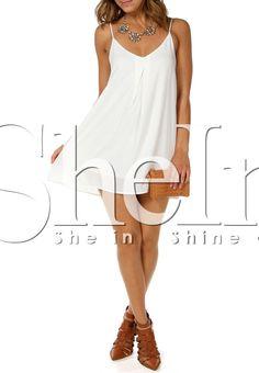 White Spaghetti Strap V Wire Shift Dress