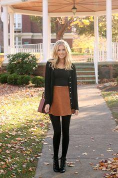 Skirt tights booties cardigan