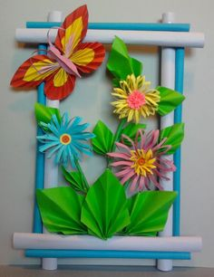 Hanging Flower Wall, Paper Flower Wall, Diy Paper, Paper Art, Classroom Door Displays, How To Make Paper Flowers, Spring Crafts For Kids, Class Decoration, Paper Frames