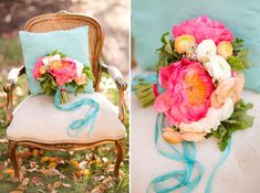 Tiffany Blue accents with bright florals! LOVE