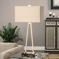 """Uttermost Rashawn Rose 33.25"""" H Table Lamp with Rectangular Shade"""