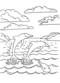 Dolphins Jumping From Water With Beautiful Style Coloring Pages For Kids Printable Find This Pin And More
