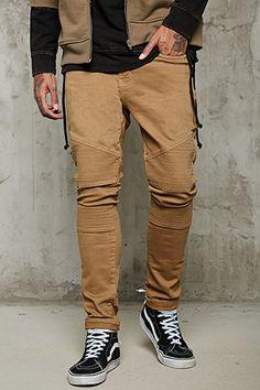 Slim-Fit Ribbed Moto Jeans