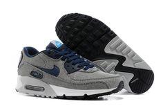 Nike Air Max 90 Classic Premium De Cambray De Zapatos Para Hombre Gris / Uc Davis Azul / Blanco / NegroaDCuRE 1