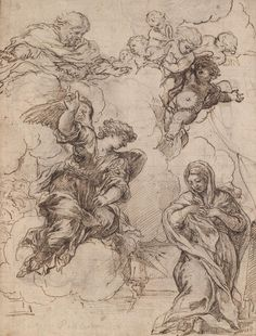 Pietro da Cortona (Pietro Berrettini), 1596 - 1669, Italian, Study for Annunciation, before 1665. Baroque.