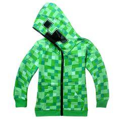 Minecraft Hoodie - Green Creeper  https://pinkypromi.se/products/minecraft-hoodie-green-creeper