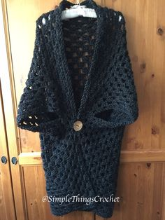 Easy Crochet Sweater Pattern for Women, Simple Cardigan Pattern, Onyx Duster Cardigan, Crochet Women's Fashion, Long Sweater for Women Cardigan Pattern, Crochet Cardigan, Crochet Shrugs, Crochet Vests, Crochet Sweaters, Chunky Cardigan, Crochet Jacket, Cute Crochet, Easy Crochet