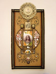Religious Art Mixed Media Assemblage by JeepersKeepers on Etsy