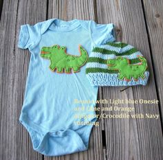 ALLIGATOR/CROCODILE inspired   Baby Set- Baby hat and onesie, Newborn photography, Baby shower gift, childrens clothing, baby gift on Etsy, $37.00
