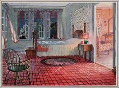 Sun porches, sun rooms, and sleeping porches were all thought to be beneficial to health because fresh air and moral living was the key to h. Vintage Room, Bedroom Vintage, Vintage Decor, 1920s Interior Design, Flat Interior, Interior Doors, 1920s Home Decor, Retro Home Decor, 1920s Decorations