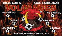Volcanoes-40678 digitally printed vinyl soccer sports team banner. Made in the USA and shipped fast by BannersUSA. www.bannersusa.com