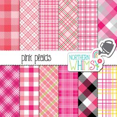 Pink Plaid Digital Paper - plaid digital paper with diagonal & square patterns - pink digital paper - printable paper - commercial use