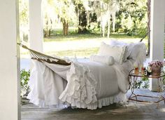Ruffle Hammock on porch From Vintage Soul Hahahha just found this and its my porch. Published in Romantic Homes Magazine Design by Debbie Mangual Photographed by Jillian James-this looks like a very familiar hammock! Outdoor Rooms, Outdoor Living, Outdoor Furniture, Outdoor Decor, Casas Shabby Chic, Sleeping Porch, Plantation Homes, Romantic Homes, Shabby Chic Homes