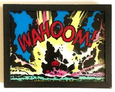 WAHOOM! - Comic book, hand lettering, painting on glass