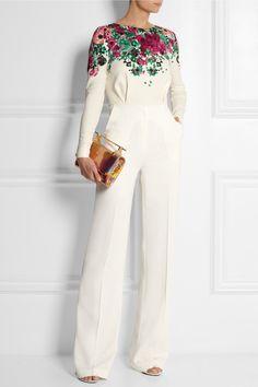 ELIE SAAB Floral-print stretch-crepe jumpsuit 'spring 14'