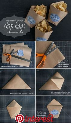 Paper DIY Snack Bags for Summer Parties is part of Diy snack bag - Make these adorable DIY snack bags from kraft paper to hold your chips or other party treats Great for little fingers to hold their goodies as they eat! Diy Kraft Bags, Kraft Paper Wedding, Papier Diy, Diy Snacks, Snacks Ideas, Night Snacks, Chip Bags, Snack Bags, Treat Bags