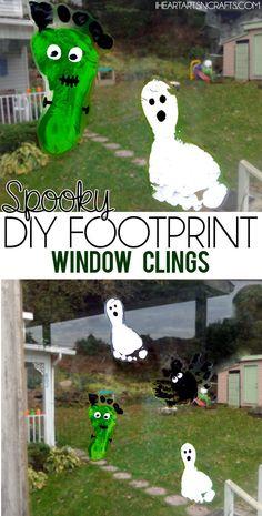 Spooky DIY Halloween Footprint Window Clings - An easy Halloween decoration the kids can make! #preschool #toddler
