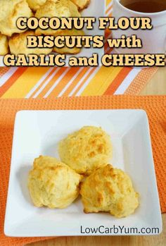 These cheddar biscuits have everything you love about warm cheesy garlic bread, except for the carbs! This keto biscuit recipe with coconut flour is sure to please. Coconut Flour Biscuits, Garlic Cheese Biscuits, Coconut Flour Recipes, Keto Biscuits, Cheddar Biscuits, Garlic Bread, Coconut Flour Dumplings Recipe, Keto Bread Coconut Flour, Keto Pancakes
