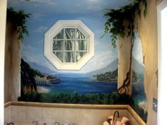Great Bathroom Mural Idea For Your Bathroom Design Fabulous Tuscan Bathroom Mural Ideas Beach View