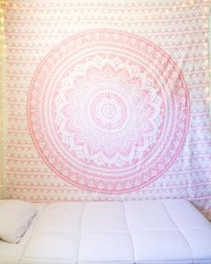Sparkly Pink Rose Gold Mandala Tapestry