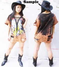 7d45ec66 Iron Maiden Killers starry sky Bleached Distressed lace up shirt dress or  Tunic bleach t shirts ombre studs S-XL We can custom like this picture with  your ...