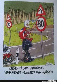 Graffiti in the morning dispels grief and worry!- Graffiti am Morgen vertreibt Kummer und Sorgen! Graffiti in the morning dispels grief and worry! Motorcycle Memes, Motorcycle Design, Joes Bar, Funny Share, Bmw Autos, Funny Memes, Jokes, Memes Humor, Graffiti Murals