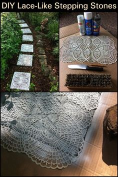 Step into your garden like royalty with this lovely garden pathway idea - DIY Lace-Like Stepping Stones