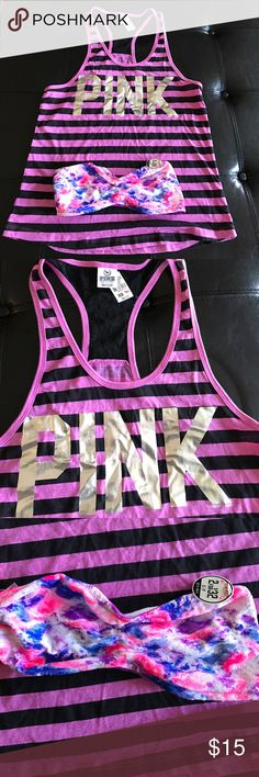 Brand new pink tank and tube top Pink tank and tube top PINK Tops Tank Tops