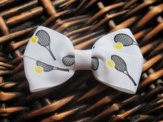 Tennis Racquet Signature Hair Bow Clip x1 by ambersilcott on Etsy, only $1.75