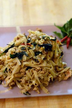 """Pad Kee Mao - spicy """"drunken"""" noodles with chilies and Thai basil 